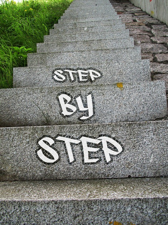 Concrete steps with the words Step by step painted on them