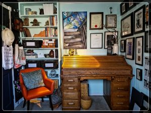Twelve years ago, when I started writing my husband gave me his office, a little 8X10 ft space that inspires and focuses me.